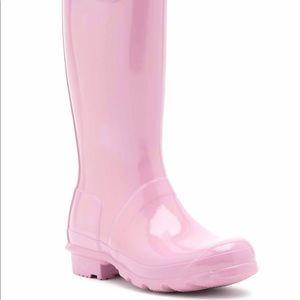 HUNTER kids pink tall glossy rain boots- New